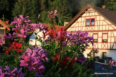 flowers & half-timbered house