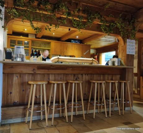 bar area with hops