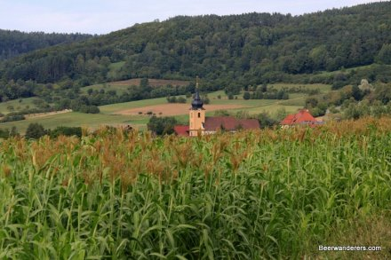 church over a field of corn