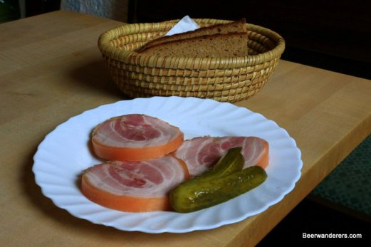 thick pork slices with a pickle