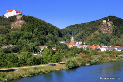 town in hills on river