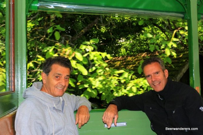 two guys on steam train