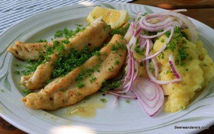 fried fish with potato salad