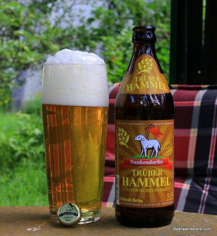 unfiltered golden beer with massive head in glass with bottle
