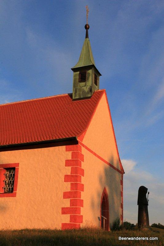 church aglow at sunset