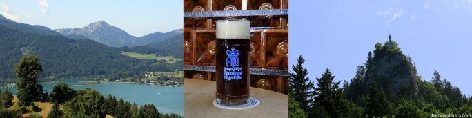 mountain lake, dark beer, peak with small chapel on top