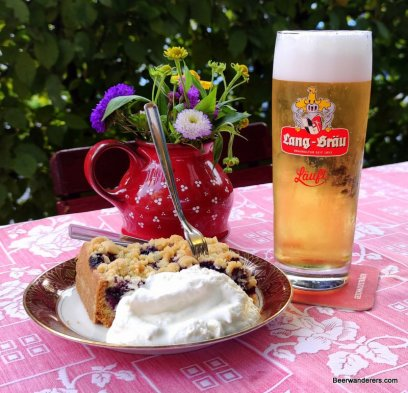 cake with cream, flower pot and beer