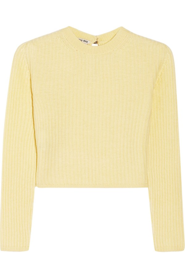 Miu Miu, cropped ribbed cashmere sweater (@Net-a-Porter)