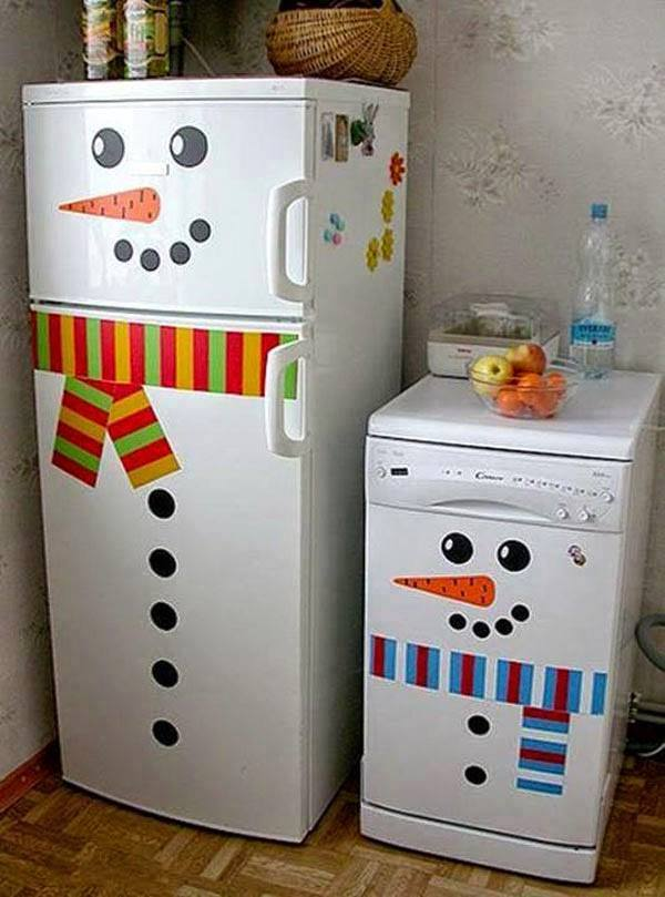 How To Decorate Snowman Refrigerator