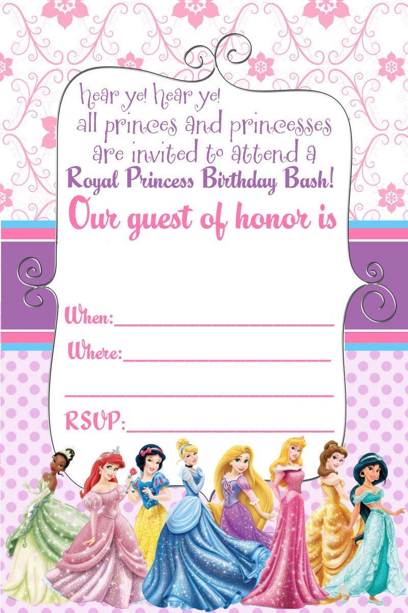 princess themed birthday invitations