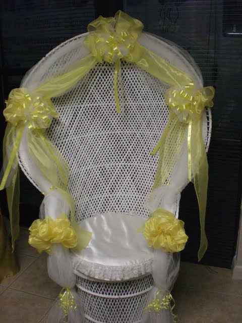 Beautiful Yellow And Grey Flower Decoration For Baby Shower