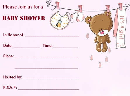 Blank Baby Shower Invitations Free Printable