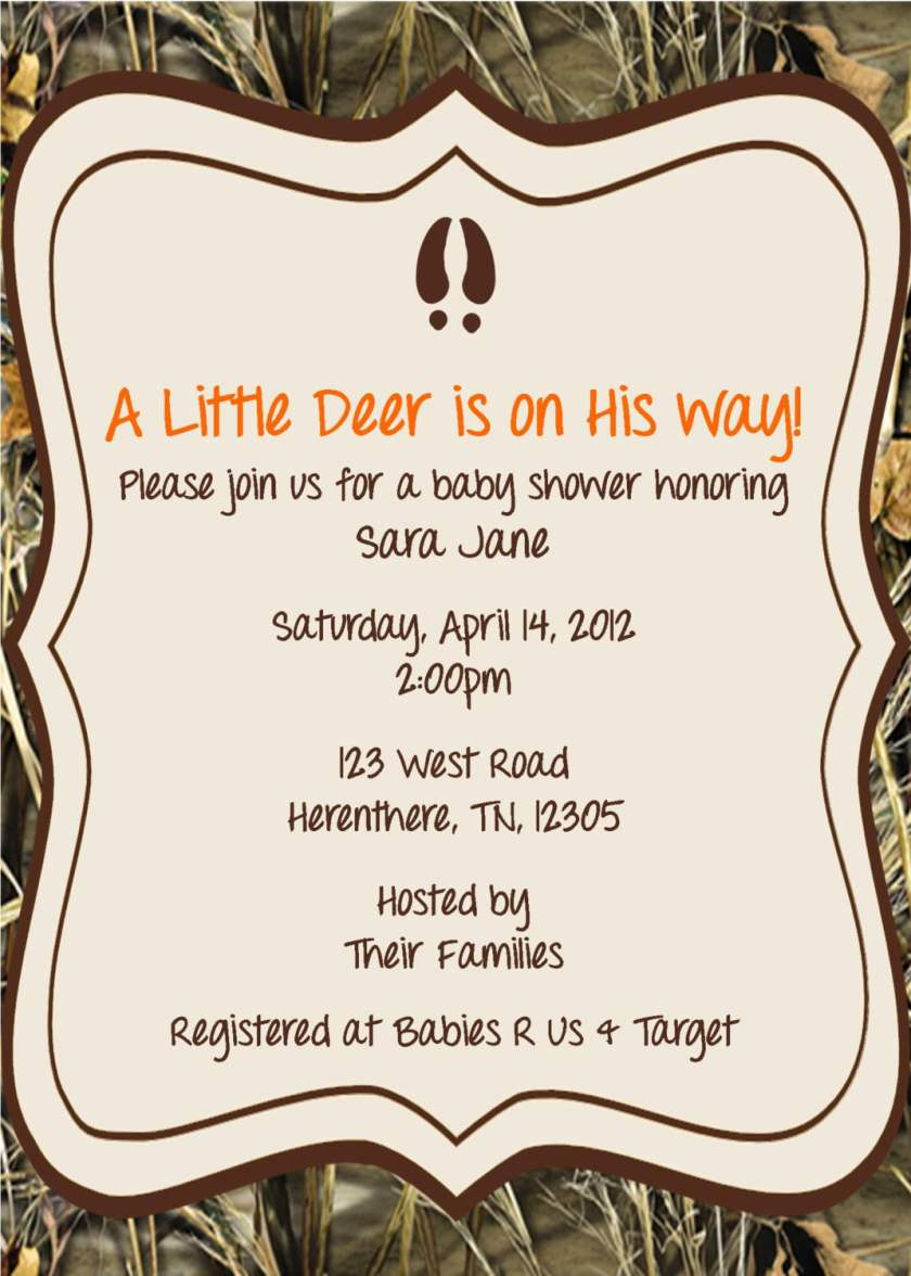Camouflage Baby Boy Shower Invitation Wording
