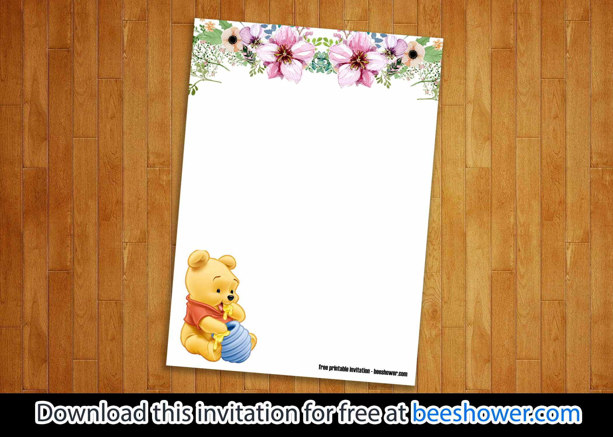 Free Classic Winnie The Pooh Baby Shower Invitations
