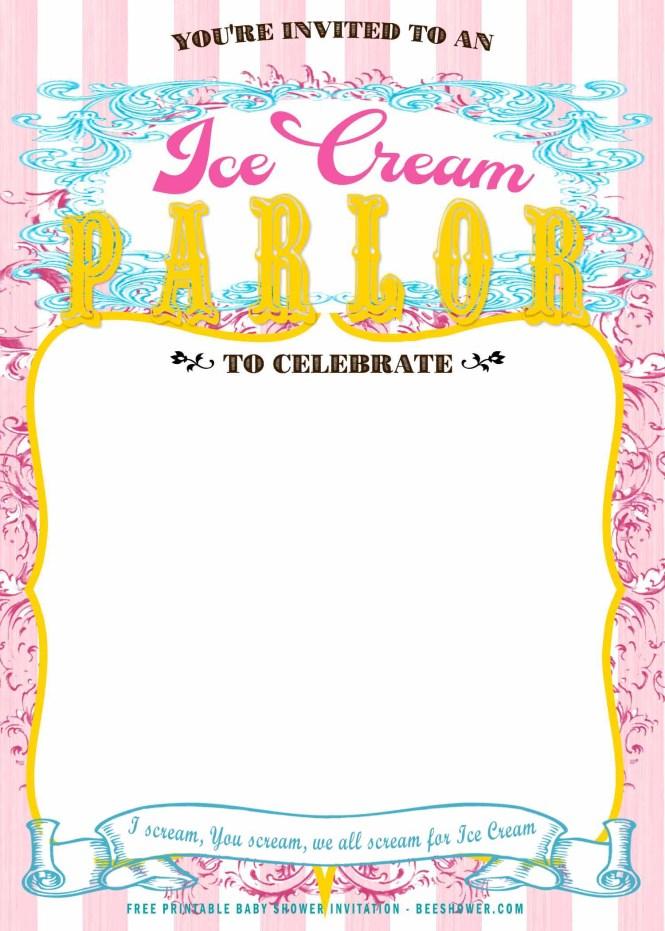 Free Printable Ice Cream Parlor Baby Shower Invitation