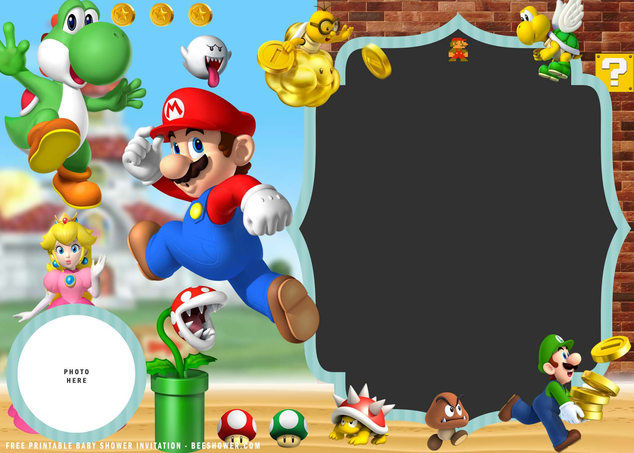 super mario baby shower invitation