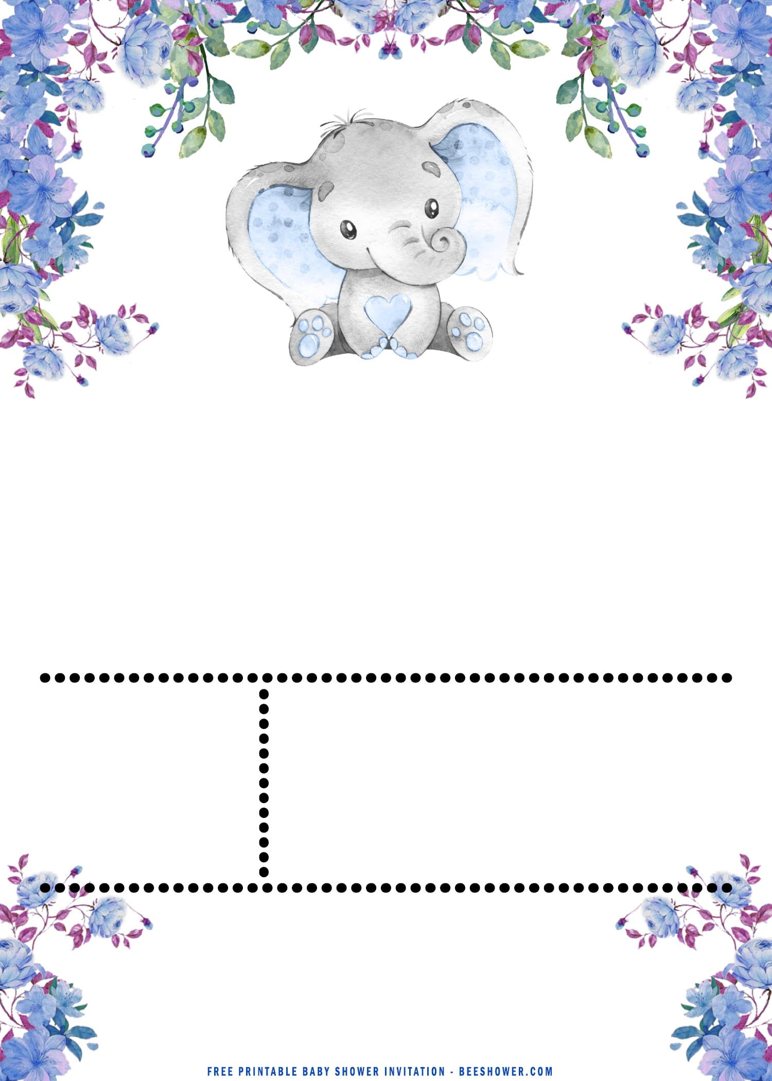 Free Printable Cute Baby Elephant Baby Shower
