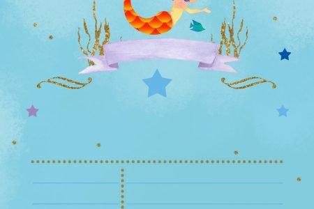 watercolor mermaid birthday invitation