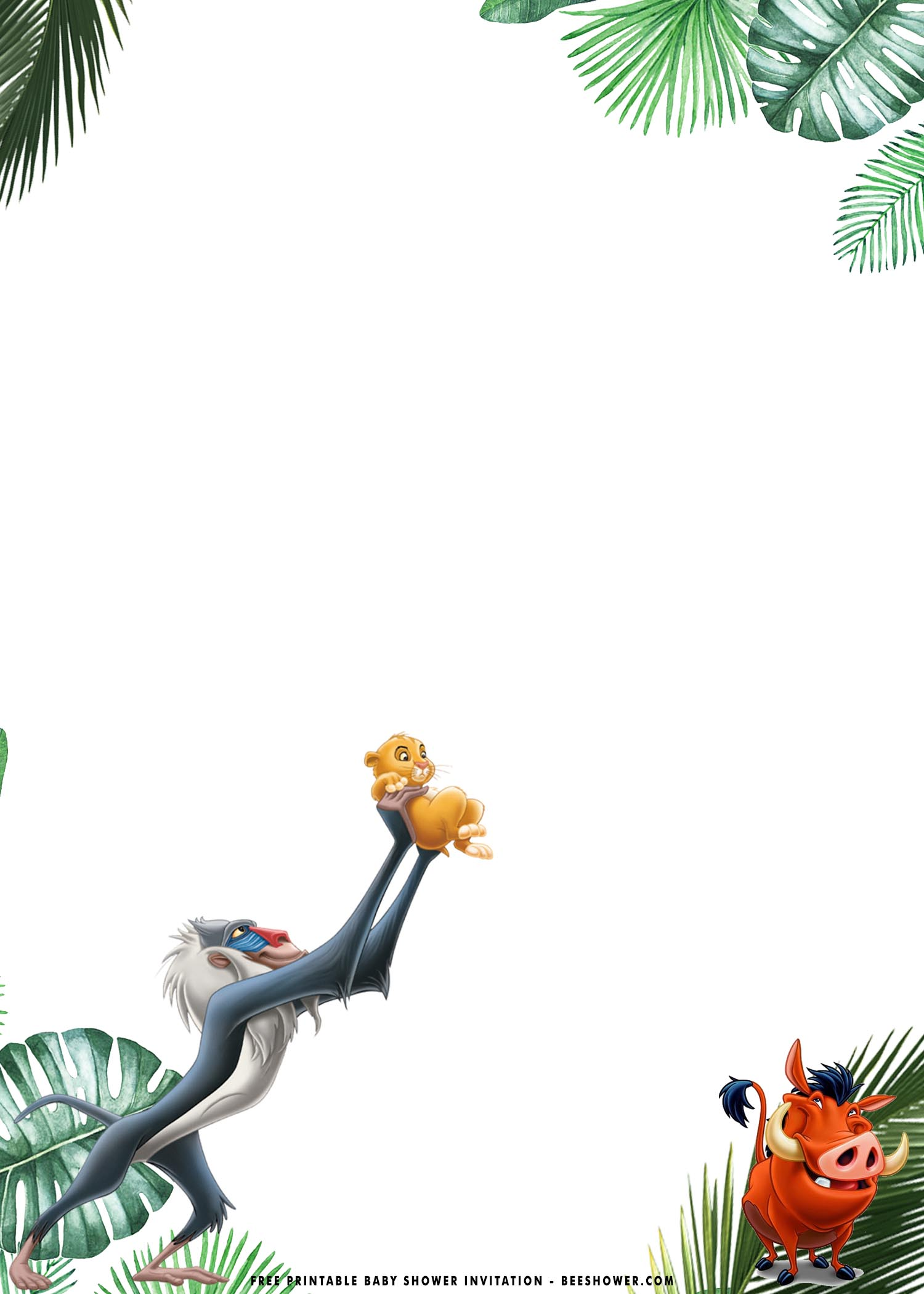 Free Printable Lion King Baby Shower Invitation