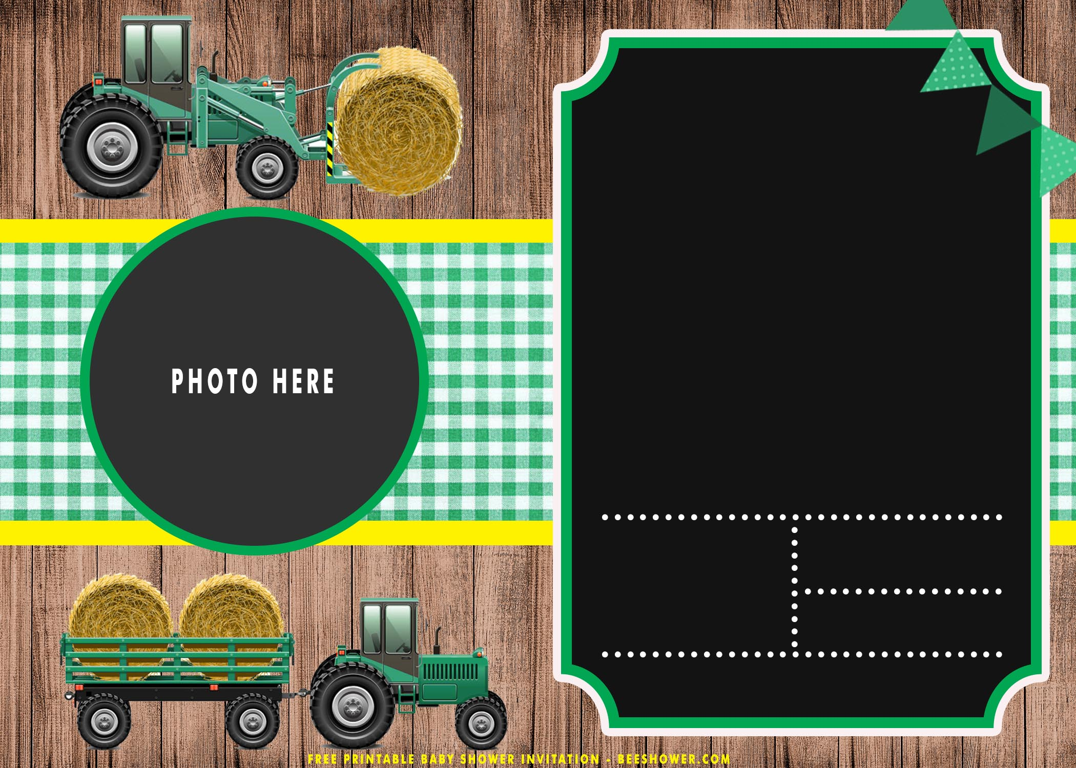 free printable cute tractor birthday