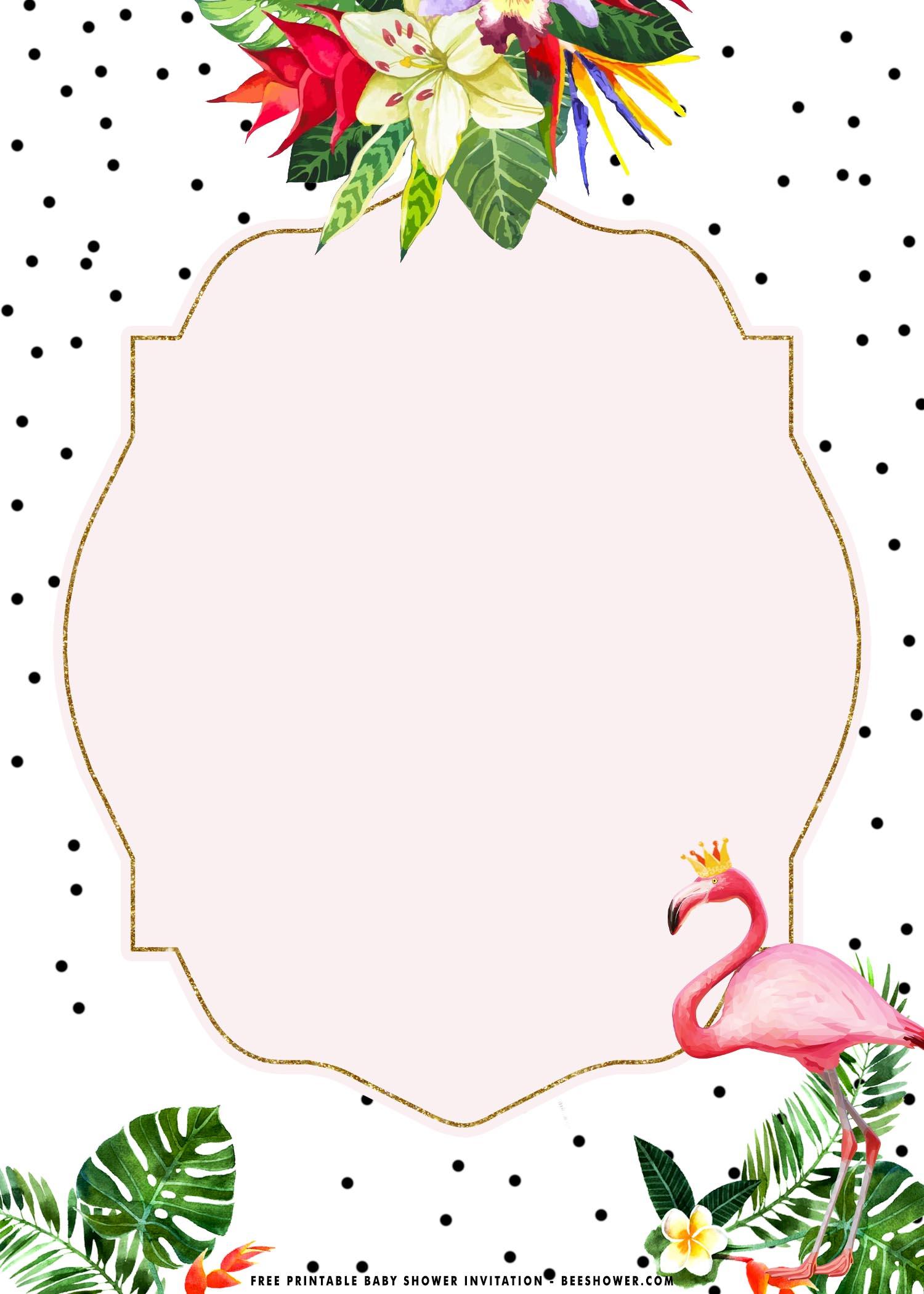 tropical flamingo birthday invitations