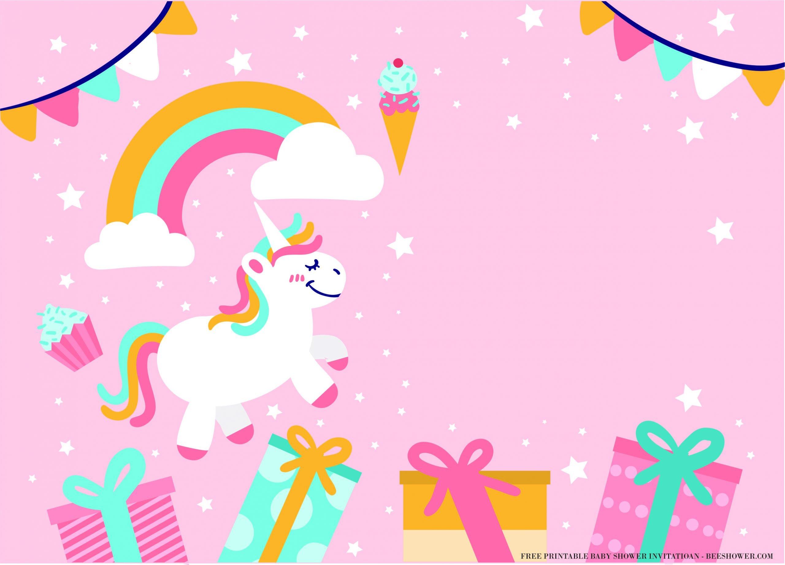 fun magical unicorn birthday card with