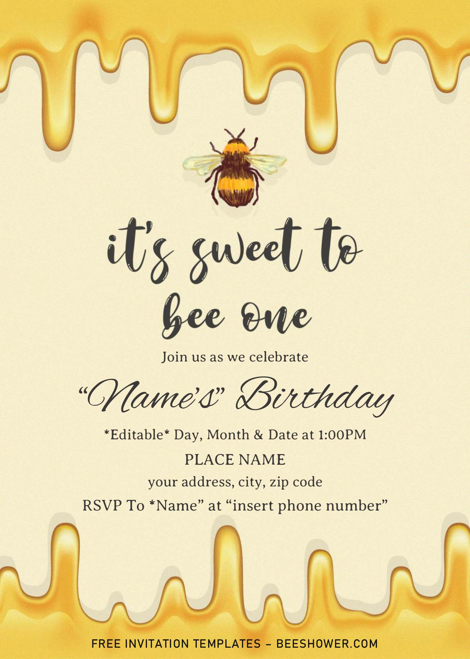 first bee day baby shower invitation