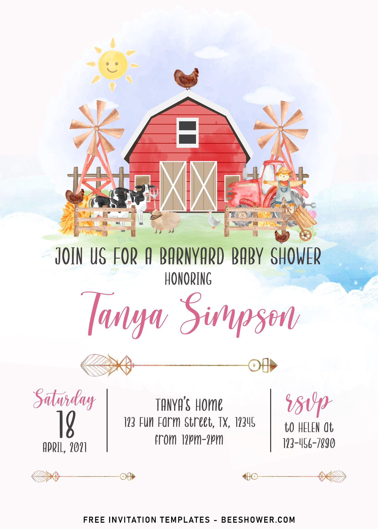 11 farm animals baby shower invitation