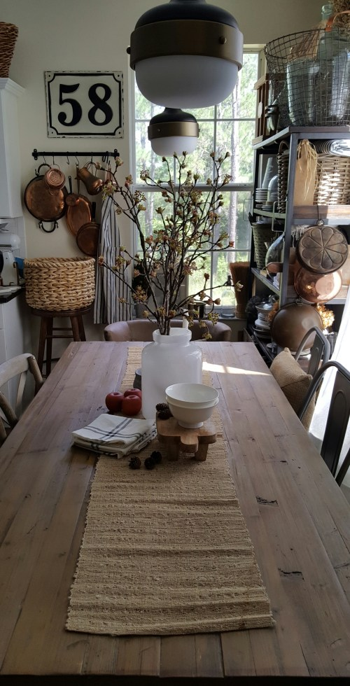 Shop the house design challenge Fall dining table Farmhouse kitchen decor white wood apples and blossoms
