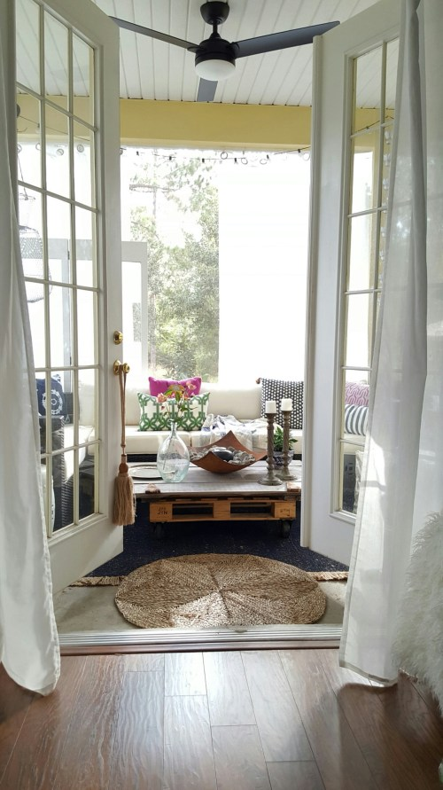 One Room Challenge Makeover French Doors Rustic Table Outdoor Sofa