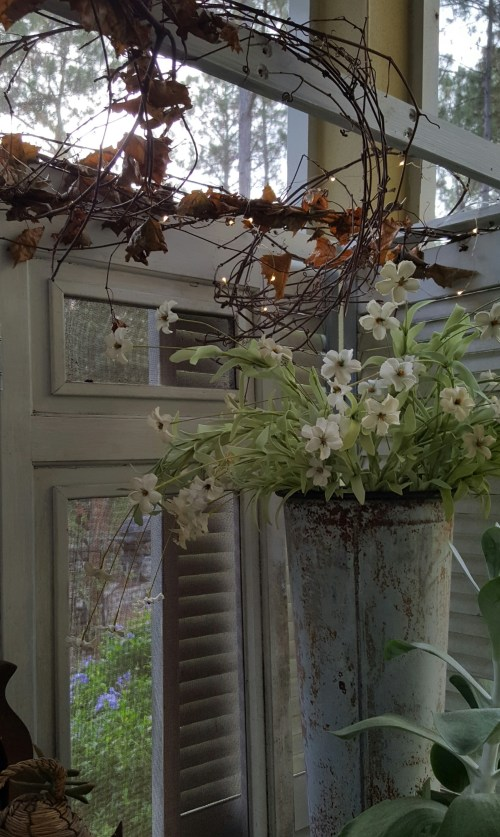 Dried Grapevine and Branches in Fall and Winter Home Decor, Vintage Shutters and Twinkle LIghts