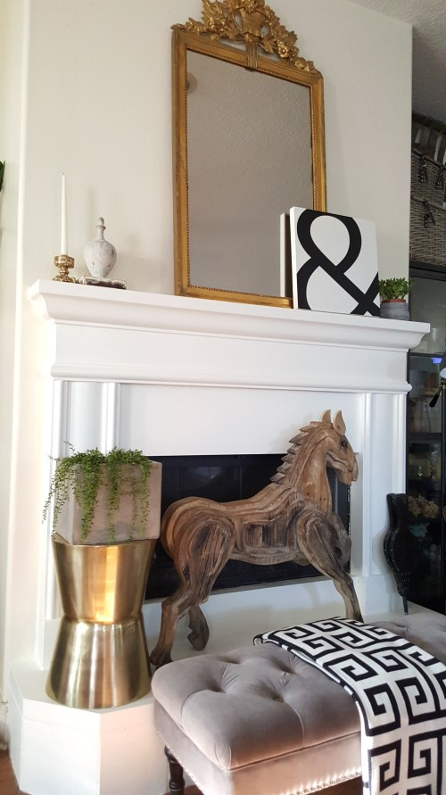 White Painted Stone Fireplace DIY Living Room Decor
