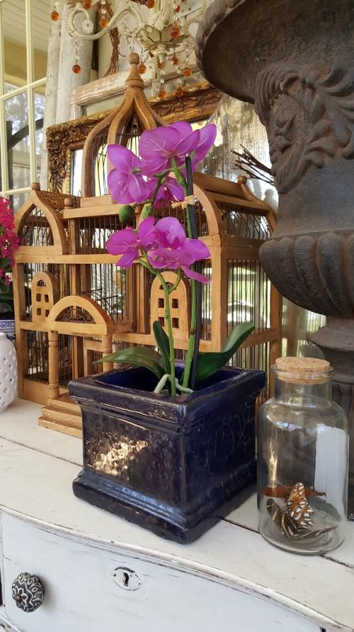 Spring Home Decor Blog Hop Back Porch Outdoor decor blue pottery glass Farmhouse dresser Orchid wood birdcage