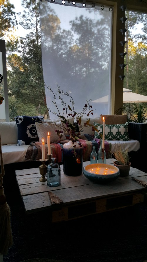 Spring Home Decor Blog Hop Back Porch Outdoor decor blue pottery glass Barn Door Coffee table flashpoint candle homegoods vase