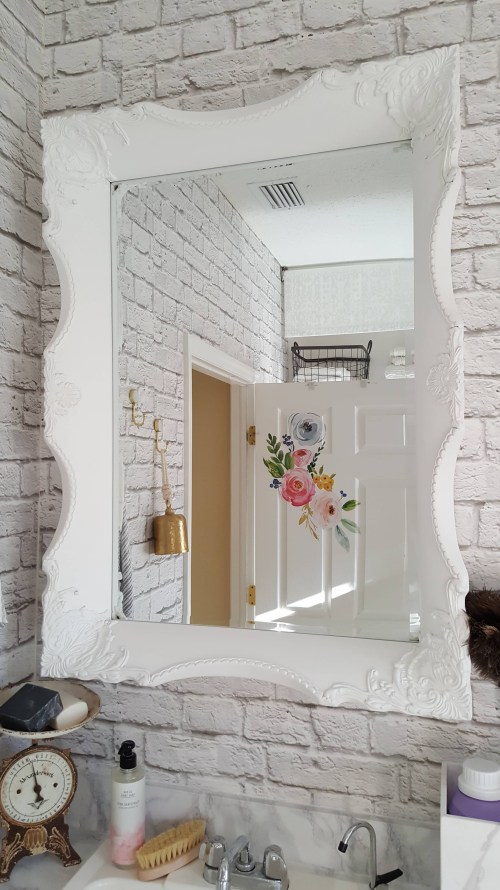 Beesnburlap One Room Challenge Urban Industrial Vintage Glam Laundry Room Reveal Makeover DIY Inspiration Brick Wallpaper Wood Wall Modern Farmhouse Decor White Sink Vintage Scale Pottery Flowers