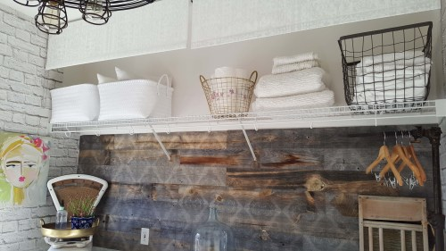 Beesnburlap One Room Challenge Urban Industrial Vintage Glam Laundry Room Reveal Makeover DIY Inspiration Art Hamper Brick Wallpaper Wood Wall Modern Farmhouse Decor Industrial Vintage Scale Storage
