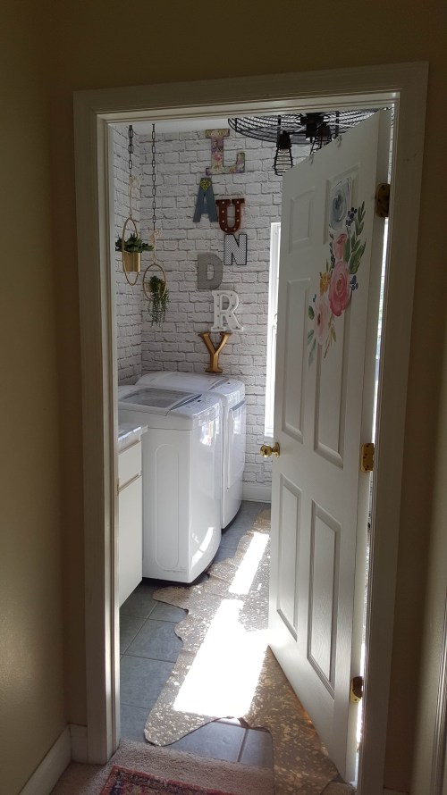 One Room Challenge Urban Industrial Vintage Laundry Room Makeover White Brick Gold Letters Boho Chic Marble Stikwood