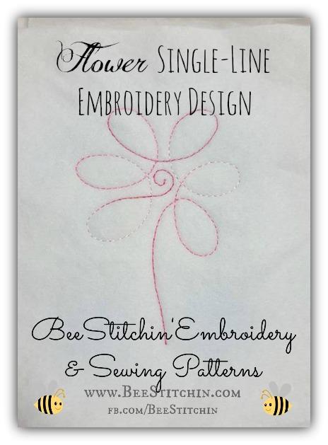 FLOWER Single Line Embroidery 4x4 5x7 6x10 INSTANT
