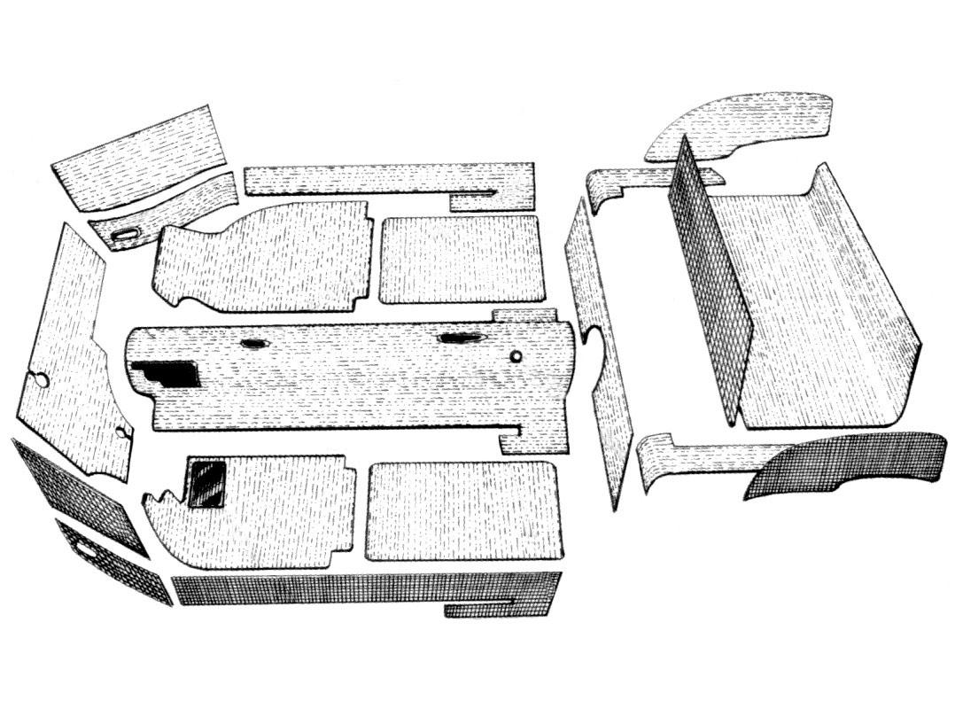 Kit Moquette Karman Ghia14 Cabriolet 20pezzi Grigia 56 68