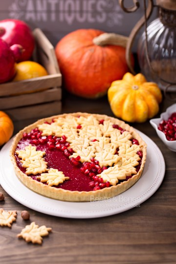 cranberry curd tart with einkorn crust