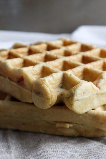 savory vegetarian mediterranean waffles