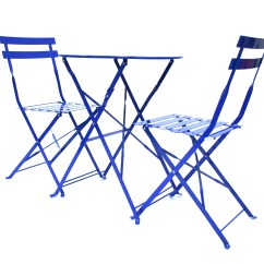 Blue Metal Folding Chairs Patio Chair With Shade Bistro And Table Set For Hire Be