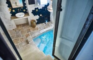 Stairs to indoor Jacuzzi luxury apartment Puglia