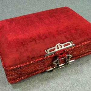 Red Velvet Memory Box with Custom Made Letter Opener