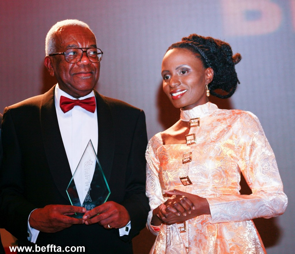 BEFFTA founder Pauline Long presents Sir Trevor McDonald with BEFFTA Lifetime Achievement Award