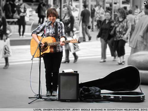 Jenny Biddle busking on the streets of Melbourne, Australia