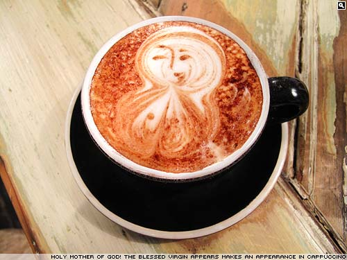Holy Mary Mother of God appears in my coffee.
