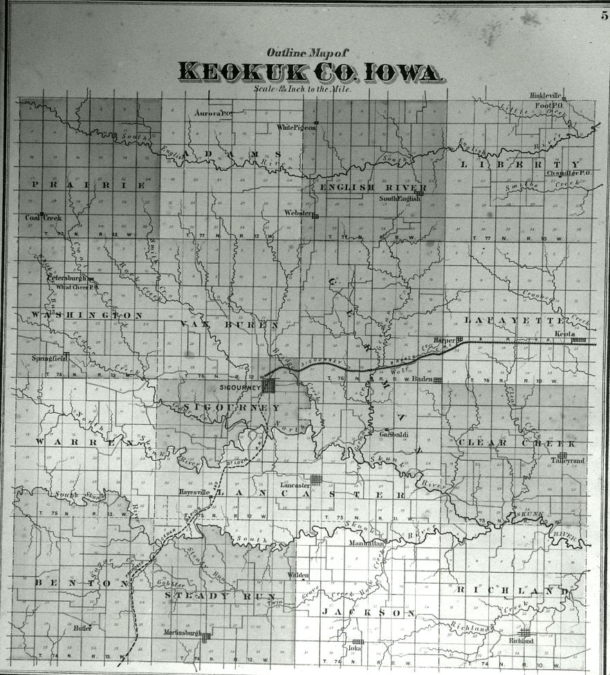 1874 Plat Maps Keokuk County of Iowa