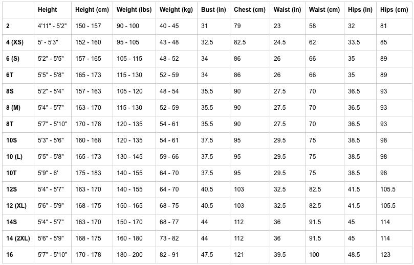 women's xcel sizing chart