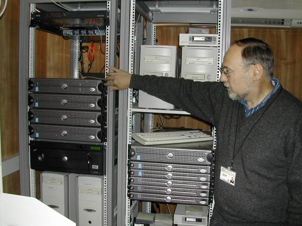 Steve Ediger with Woodstock servers